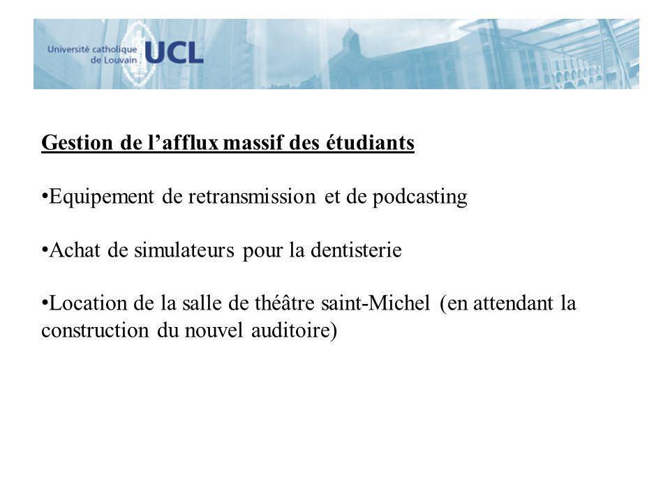 Gestion de lafflux massif des étudiants Equipement de retransmission et de podcasting Achat de simulateurs pour la dentisterie Location de la salle de