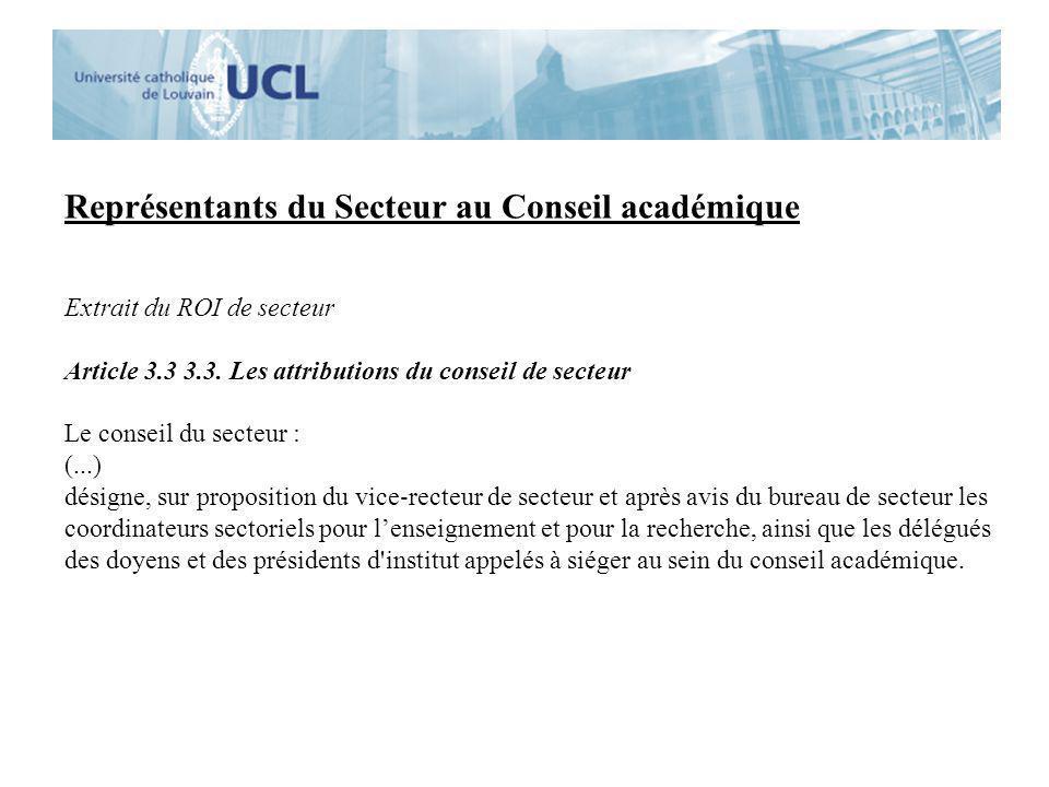 Représentants du Secteur au Conseil académique Proposition du Bureau de Secteur: Dominique Vanpee Jean-Louis Vanoverschelde Thierry Zintz