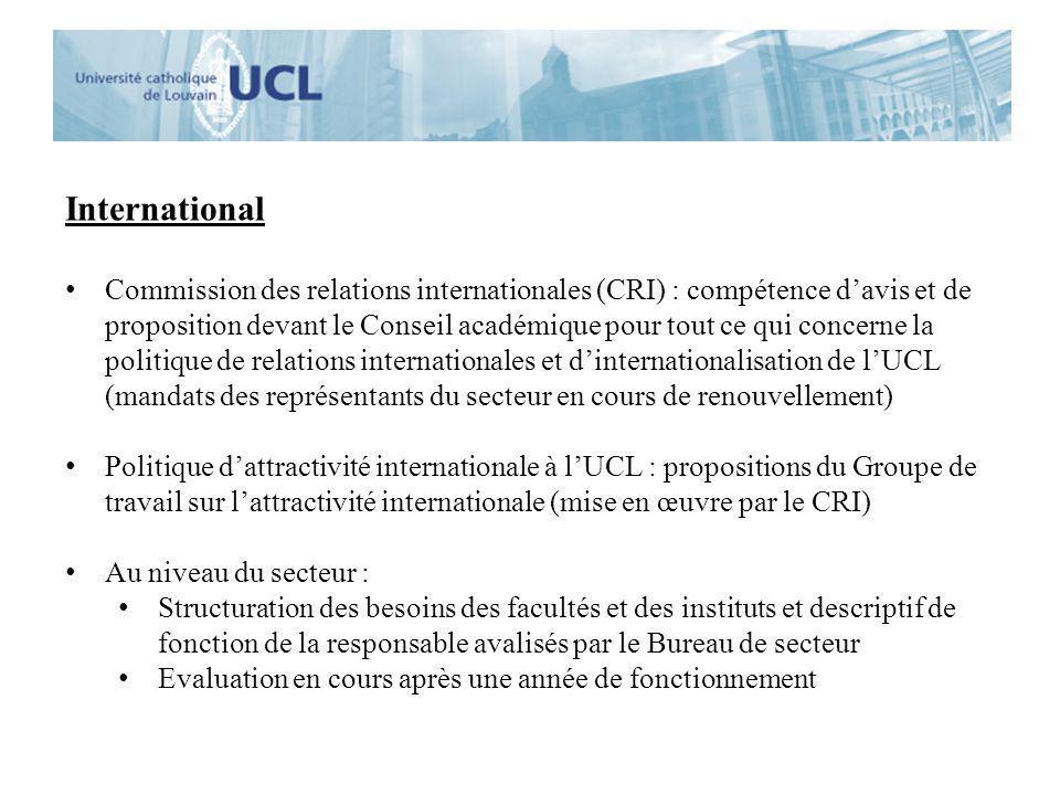 International Commission des relations internationales (CRI) : compétence davis et de proposition devant le Conseil académique pour tout ce qui concer