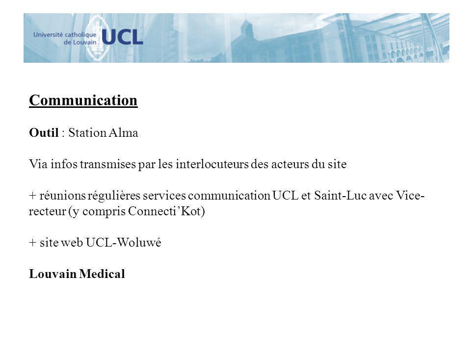 Communication Outil : Station Alma Via infos transmises par les interlocuteurs des acteurs du site + réunions régulières services communication UCL et