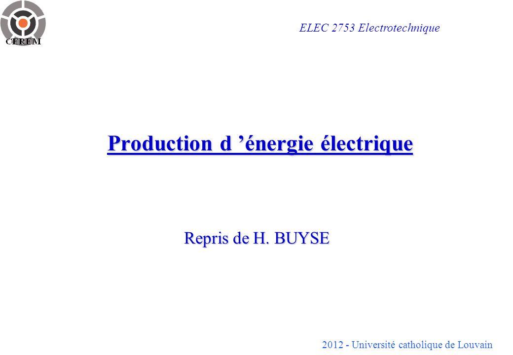 2012 - Université catholique de Louvain 2 Filières de production d énergie électrique ENERGIE ELECTRIQUE Générateur photovoltaïque Pile à combustible Convertisseur électromécanique Convertisseurs directs Énergie mécanique Énergie thermique Énergie hydraulique et éolienne Énergie chimique Énergie de fission Radio- isotopes Énergie de fusion Énergie d origine solaire Énergie nucléaire
