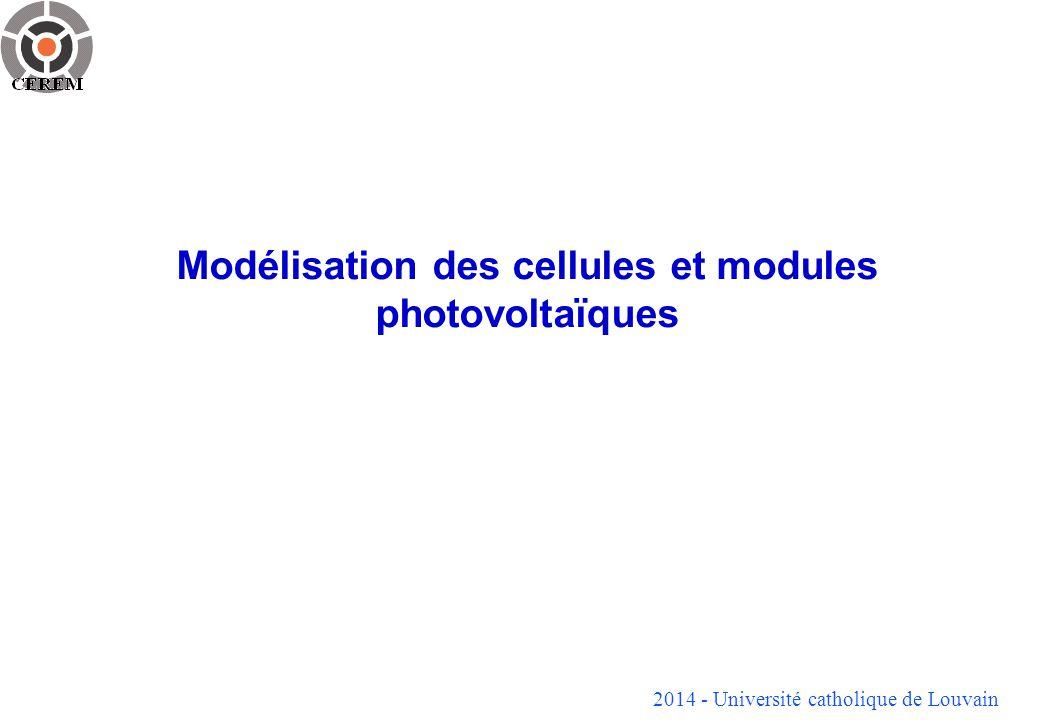 2014 - Université catholique de Louvain 12 Modèle électrique (suite) La partie non linéaire du circuit équivalent tient compte de plusieurs phénomènes qui vont détourner une partie du courant photogénéré.
