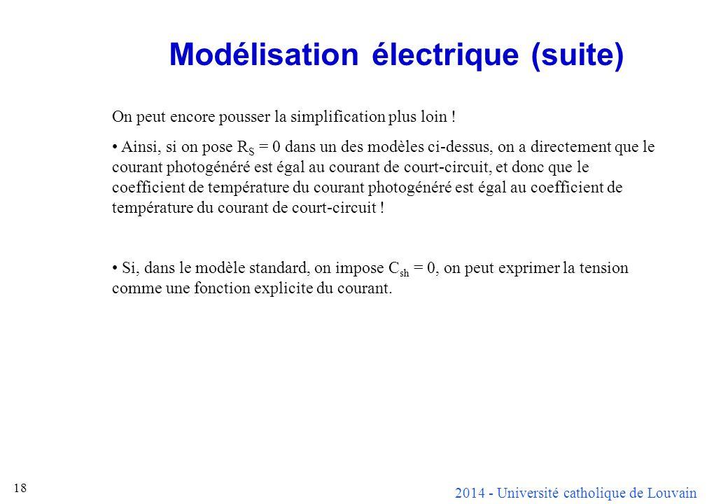 2014 - Université catholique de Louvain 18 Modélisation électrique (suite) On peut encore pousser la simplification plus loin ! Ainsi, si on pose R S