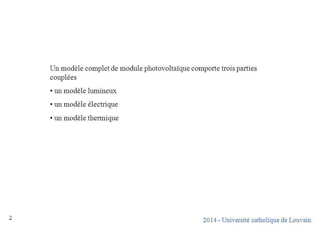2014 - Université catholique de Louvain ELEC 2670cours n° 4 (seconde partie) Interfaces associés aux modules solaires