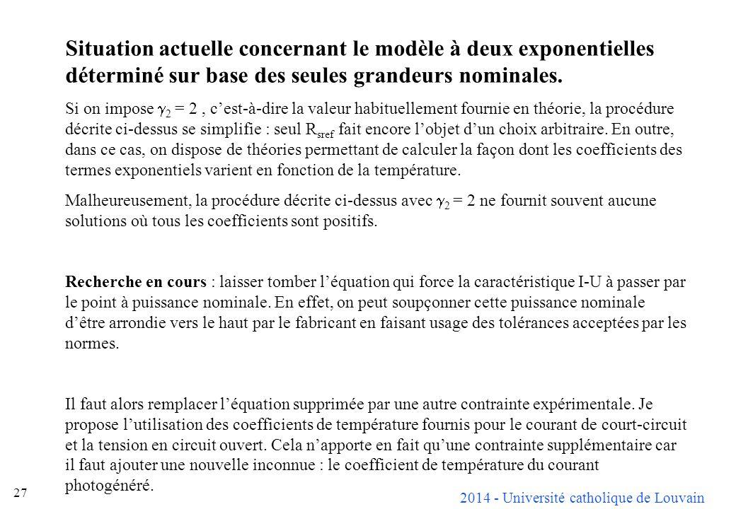 2014 - Université catholique de Louvain 27 Situation actuelle concernant le modèle à deux exponentielles déterminé sur base des seules grandeurs nomin