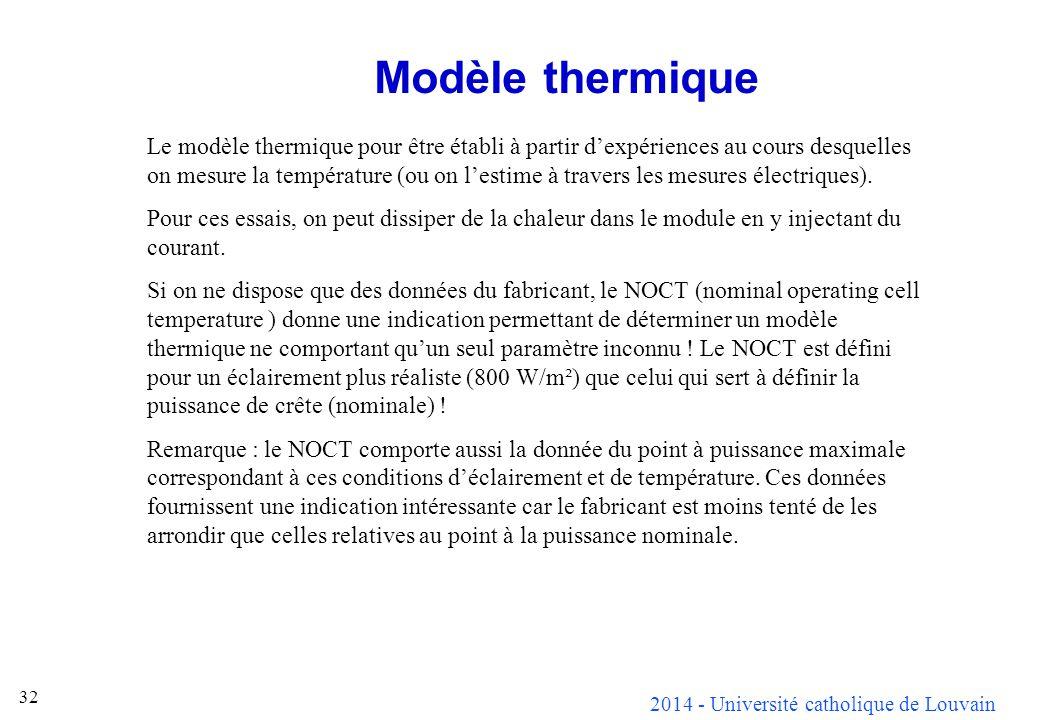 2014 - Université catholique de Louvain 32 Modèle thermique Le modèle thermique pour être établi à partir dexpériences au cours desquelles on mesure l