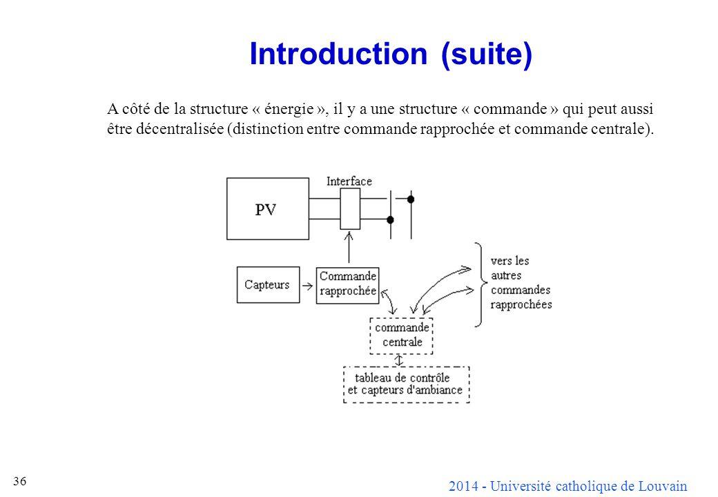 2014 - Université catholique de Louvain 36 Introduction (suite) A côté de la structure « énergie », il y a une structure « commande » qui peut aussi ê
