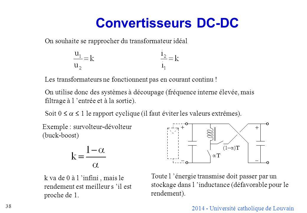 2014 - Université catholique de Louvain 38 Convertisseurs DC-DC On souhaite se rapprocher du transformateur idéal Les transformateurs ne fonctionnent