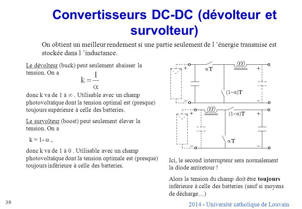 2014 - Université catholique de Louvain 39 Convertisseurs DC-DC (dévolteur et survolteur) On obtient un meilleur rendement si une partie seulement de