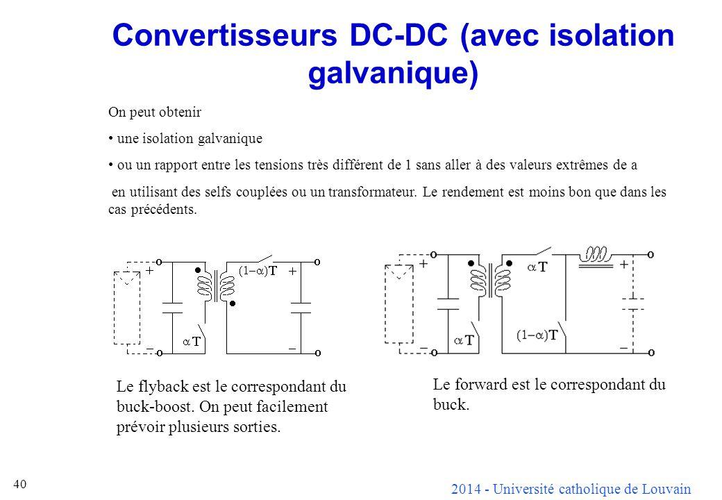 2014 - Université catholique de Louvain 40 Convertisseurs DC-DC (avec isolation galvanique) On peut obtenir une isolation galvanique ou un rapport ent