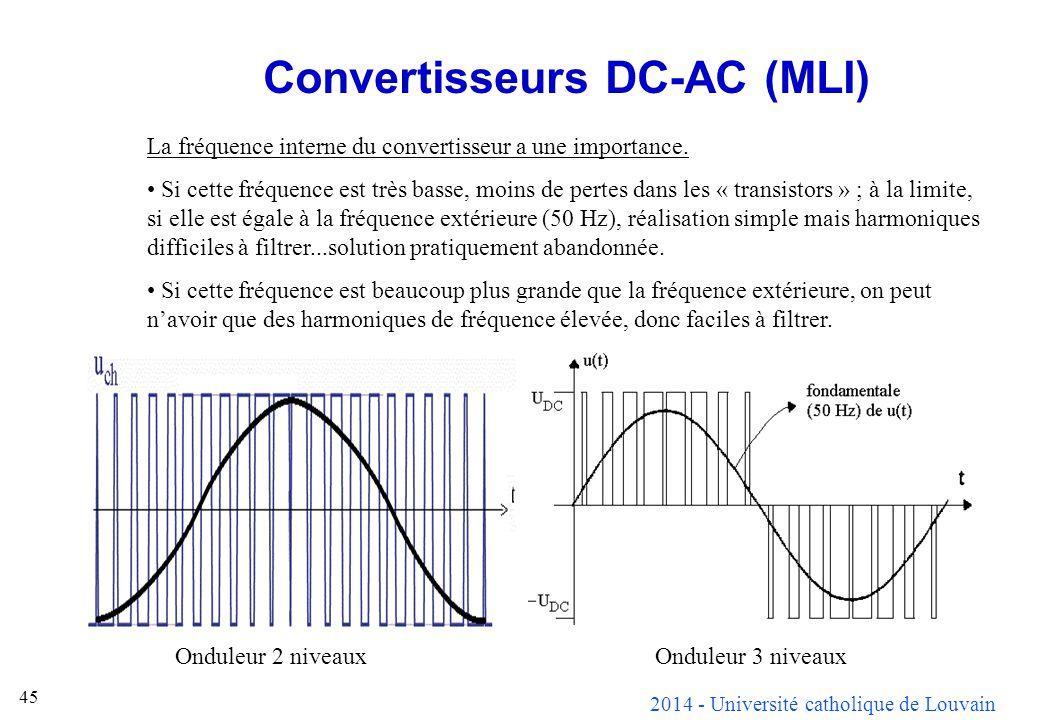 2014 - Université catholique de Louvain 45 Convertisseurs DC-AC (MLI) La fréquence interne du convertisseur a une importance. Si cette fréquence est t