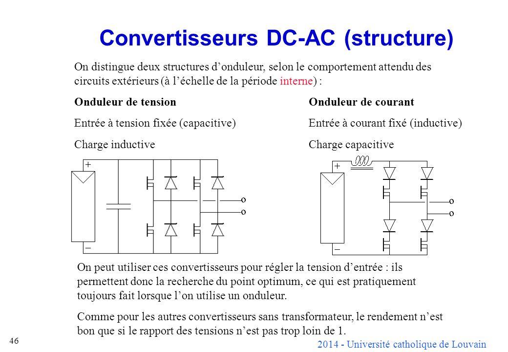 2014 - Université catholique de Louvain 46 Convertisseurs DC-AC (structure) On distingue deux structures donduleur, selon le comportement attendu des