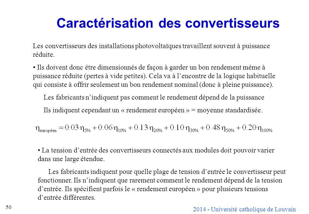 2014 - Université catholique de Louvain 50 Caractérisation des convertisseurs Les convertisseurs des installations photovoltaïques travaillent souvent