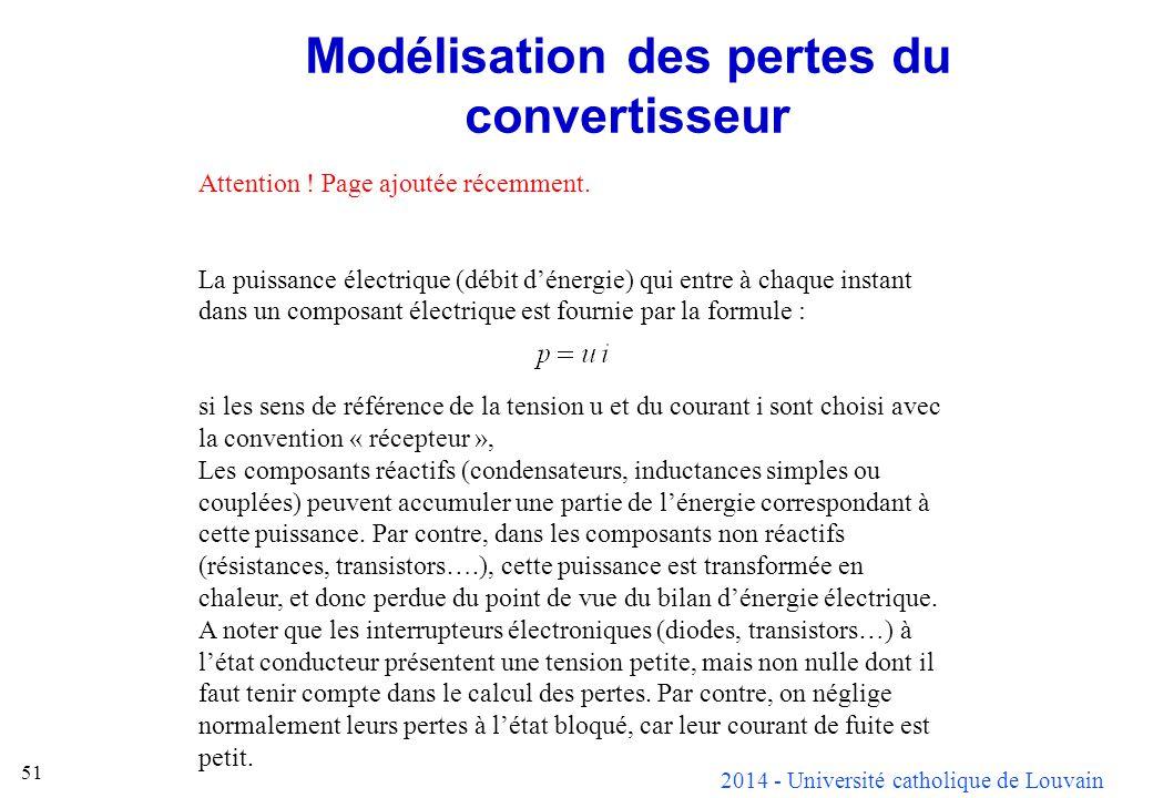 2014 - Université catholique de Louvain 51 Modélisation des pertes du convertisseur Attention ! Page ajoutée récemment. La puissance électrique (débit