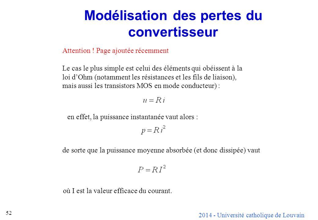 2014 - Université catholique de Louvain 52 Modélisation des pertes du convertisseur Attention ! Page ajoutée récemment Le cas le plus simple est celui