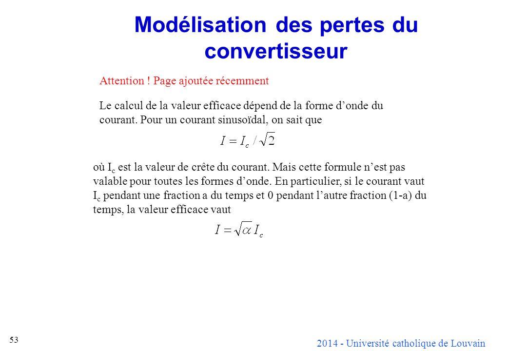 2014 - Université catholique de Louvain 53 Modélisation des pertes du convertisseur Attention ! Page ajoutée récemment Le calcul de la valeur efficace