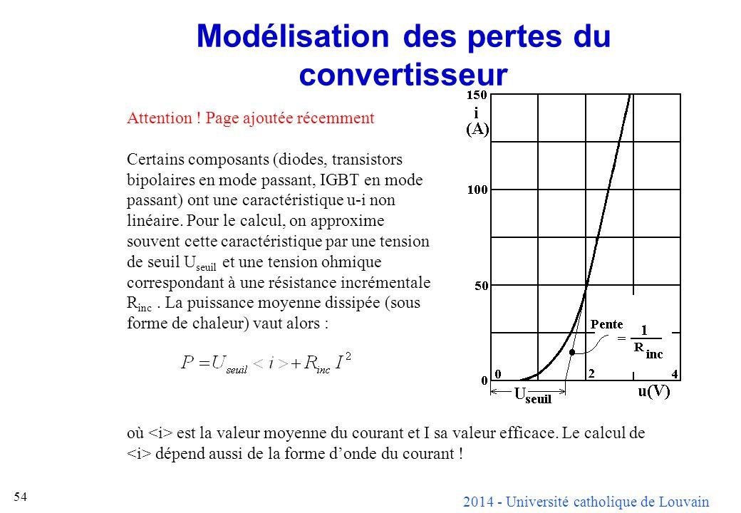 2014 - Université catholique de Louvain 54 Modélisation des pertes du convertisseur Attention ! Page ajoutée récemment Certains composants (diodes, tr