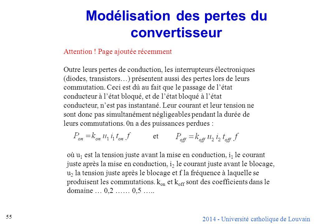 2014 - Université catholique de Louvain 55 Modélisation des pertes du convertisseur Attention ! Page ajoutée récemment Outre leurs pertes de conductio