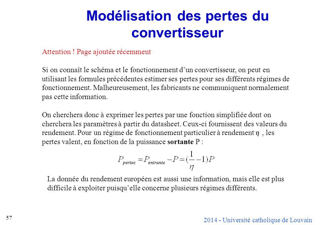 2014 - Université catholique de Louvain 57 Modélisation des pertes du convertisseur Attention ! Page ajoutée récemment Si on connaît le schéma et le f