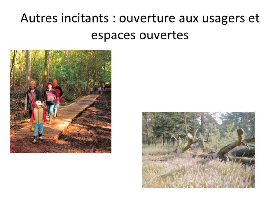 Autres incitants : ouverture aux usagers et espaces ouvertes