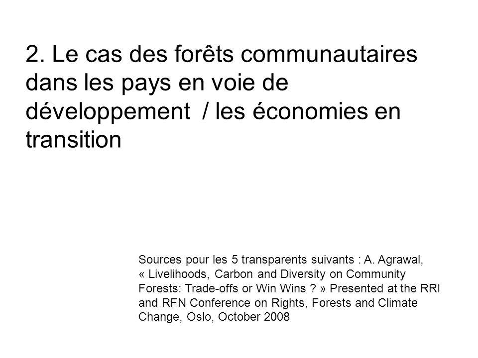 2. Le cas des forêts communautaires dans les pays en voie de développement / les économies en transition Sources pour les 5 transparents suivants : A.