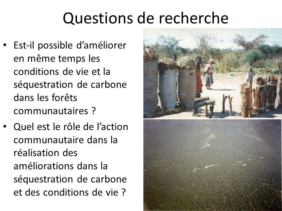 Questions de recherche Est-il possible daméliorer en même temps les conditions de vie et la séquestration de carbone dans les forêts communautaires .
