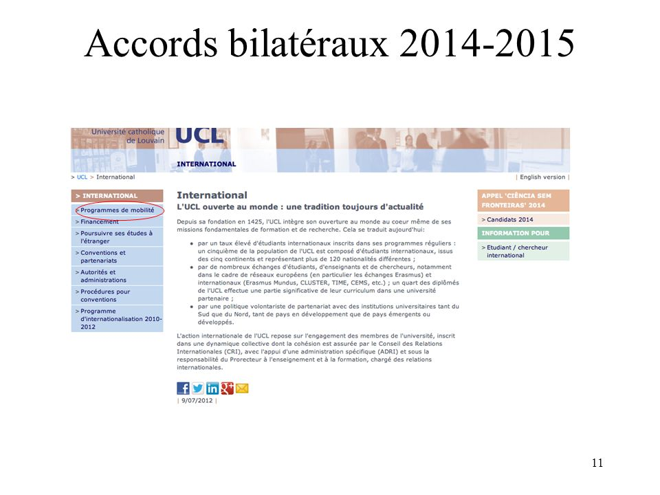 11 Accords bilatéraux 2014-2015