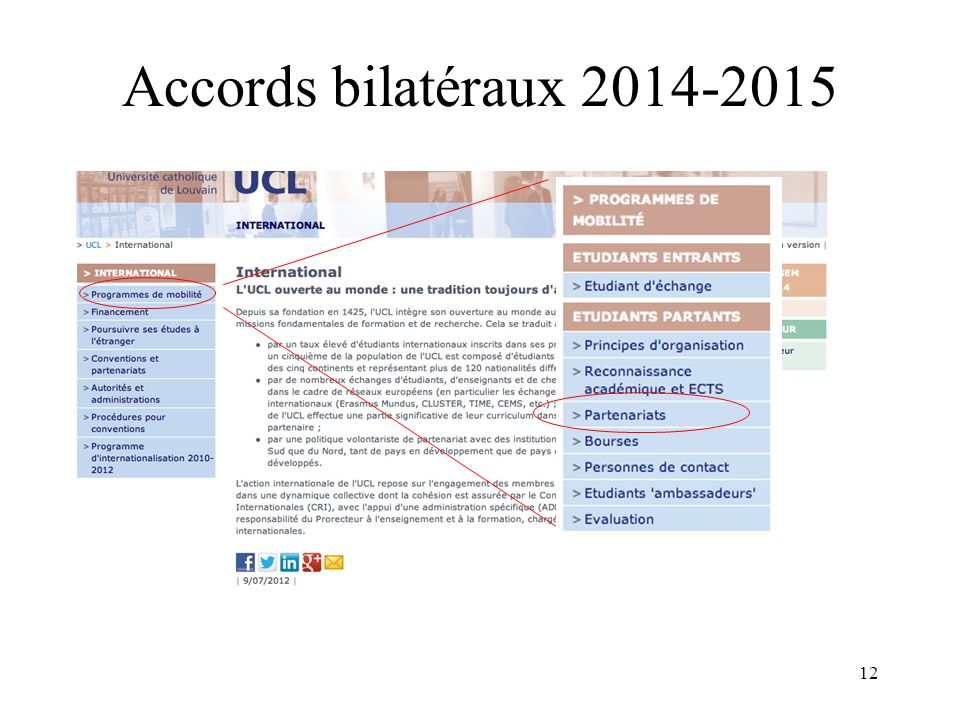 12 Accords bilatéraux 2014-2015