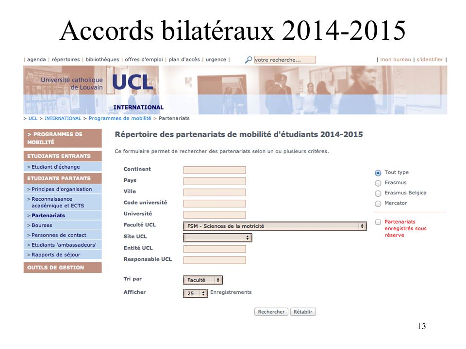 13 Accords bilatéraux 2014-2015