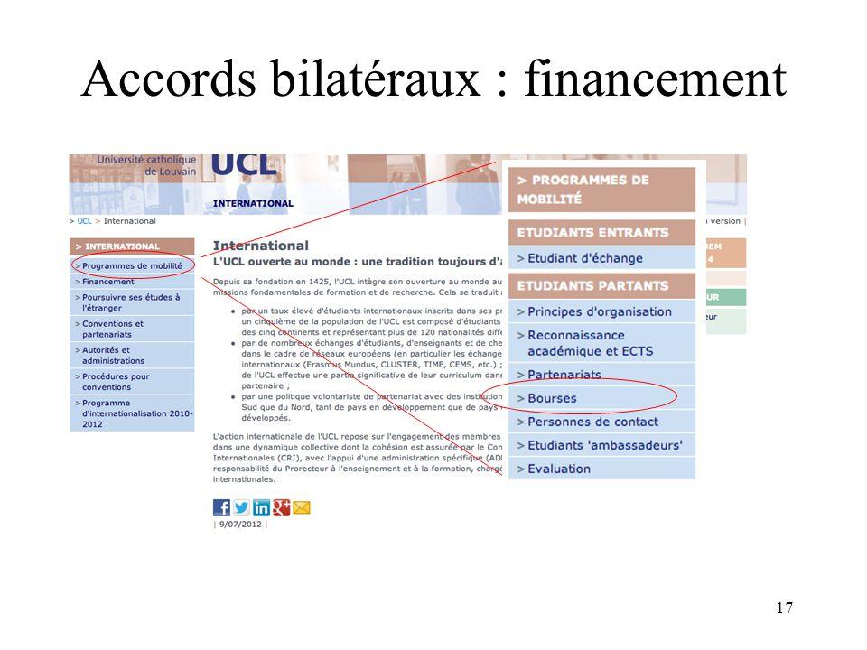 17 Accords bilatéraux : financement