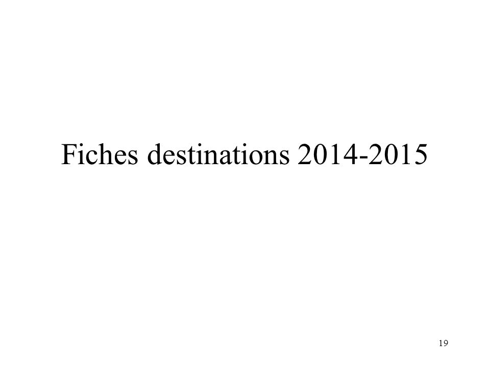 19 Fiches destinations 2014-2015