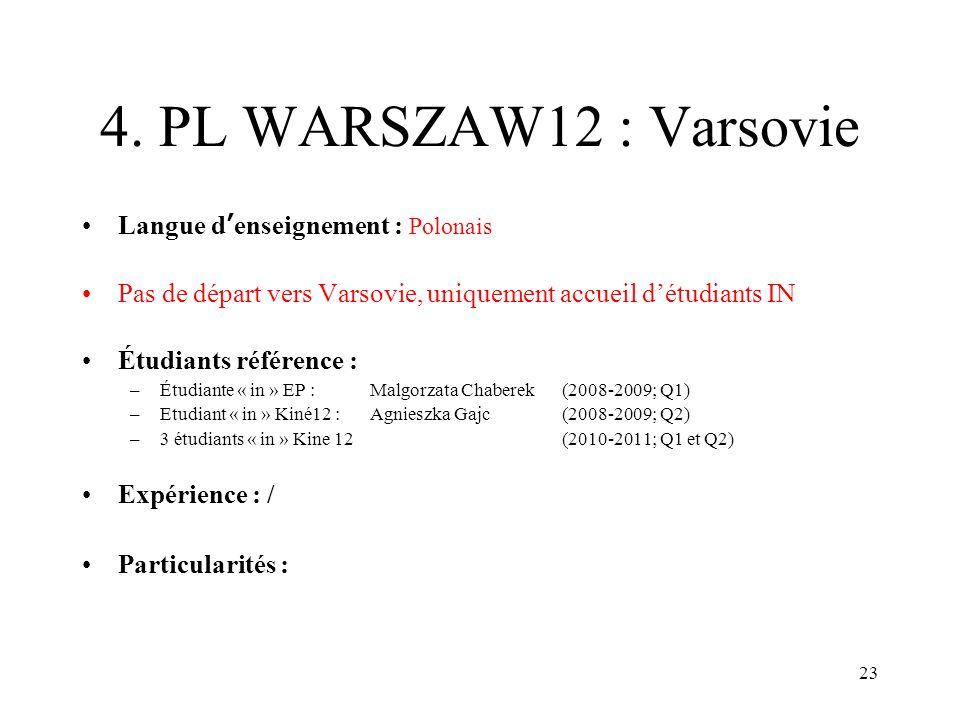 23 4. PL WARSZAW12 : Varsovie Langue denseignement : Polonais Pas de départ vers Varsovie, uniquement accueil détudiants IN Étudiants référence : –Étu