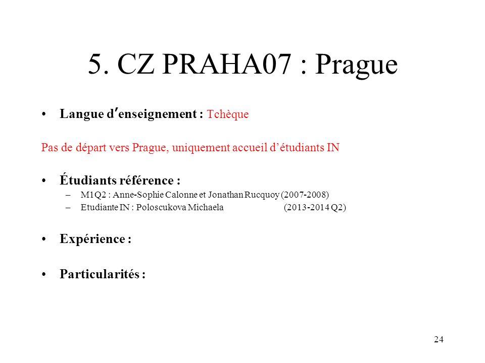 24 5. CZ PRAHA07 : Prague Langue denseignement : Tchèque Pas de départ vers Prague, uniquement accueil détudiants IN Étudiants référence : –M1Q2 : Ann