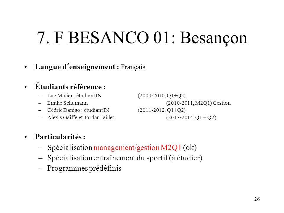 26 7. F BESANCO 01: Besançon Langue denseignement : Français Étudiants référence : –Luc Maliar : étudiant IN (2009-2010, Q1+Q2) –Emilie Schumann (2010