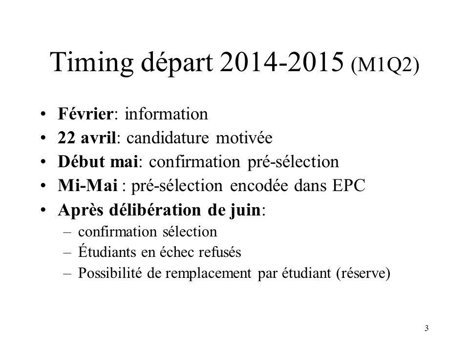 3 Timing départ 2014-2015 (M1Q2) Février: information 22 avril: candidature motivée Début mai: confirmation pré-sélection Mi-Mai : pré-sélection encod