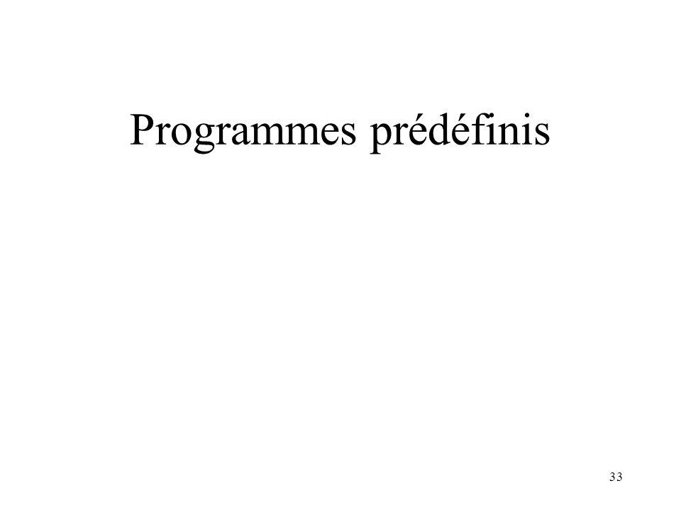 Programmes prédéfinis 33