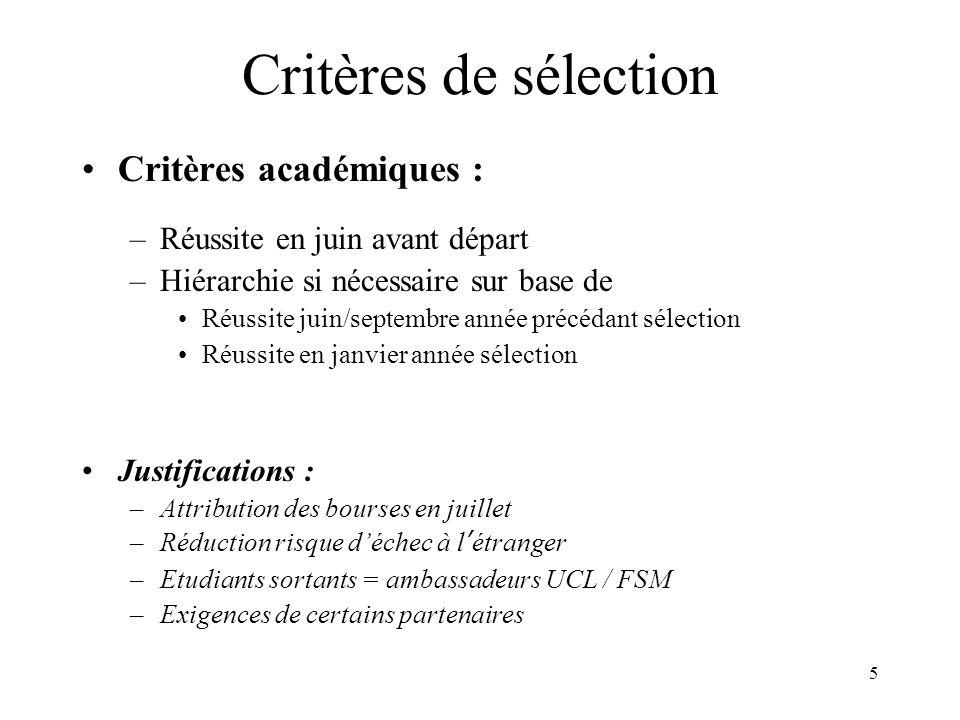 5 Critères de sélection Critères académiques : –Réussite en juin avant départ –Hiérarchie si nécessaire sur base de Réussite juin/septembre année précédant sélection Réussite en janvier année sélection Justifications : –Attribution des bourses en juillet –Réduction risque déchec à létranger –Etudiants sortants = ambassadeurs UCL / FSM –Exigences de certains partenaires