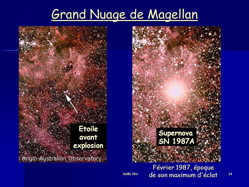 Etoile avant explosion Février 1987, époque de son maximum d éclat Grand Nuage de Magellan Grand Nuage de Magellan Supernova SN 1987A Joëlle Pire14
