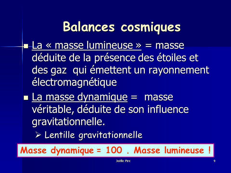 Balances cosmiques La « masse lumineuse » = masse déduite de la présence des étoiles et des gaz qui émettent un rayonnement électromagnétique La « masse lumineuse » = masse déduite de la présence des étoiles et des gaz qui émettent un rayonnement électromagnétique La masse dynamique = masse véritable, déduite de son influence gravitationnelle.