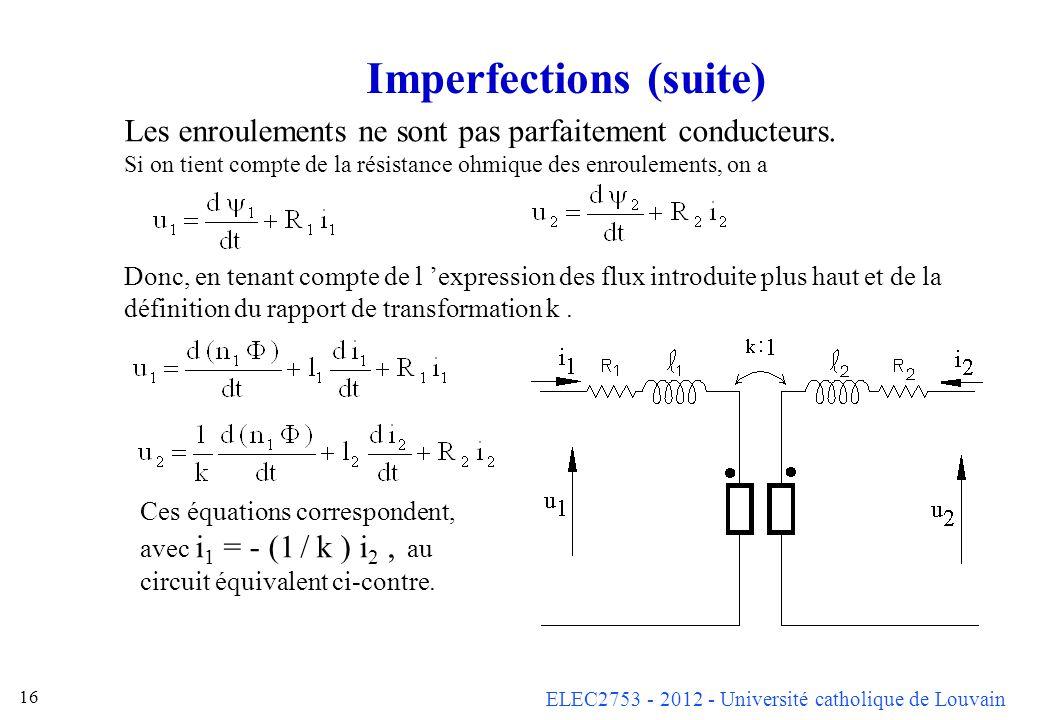 ELEC2753 - 2012 - Université catholique de Louvain 16 Imperfections (suite) Les enroulements ne sont pas parfaitement conducteurs. Si on tient compte