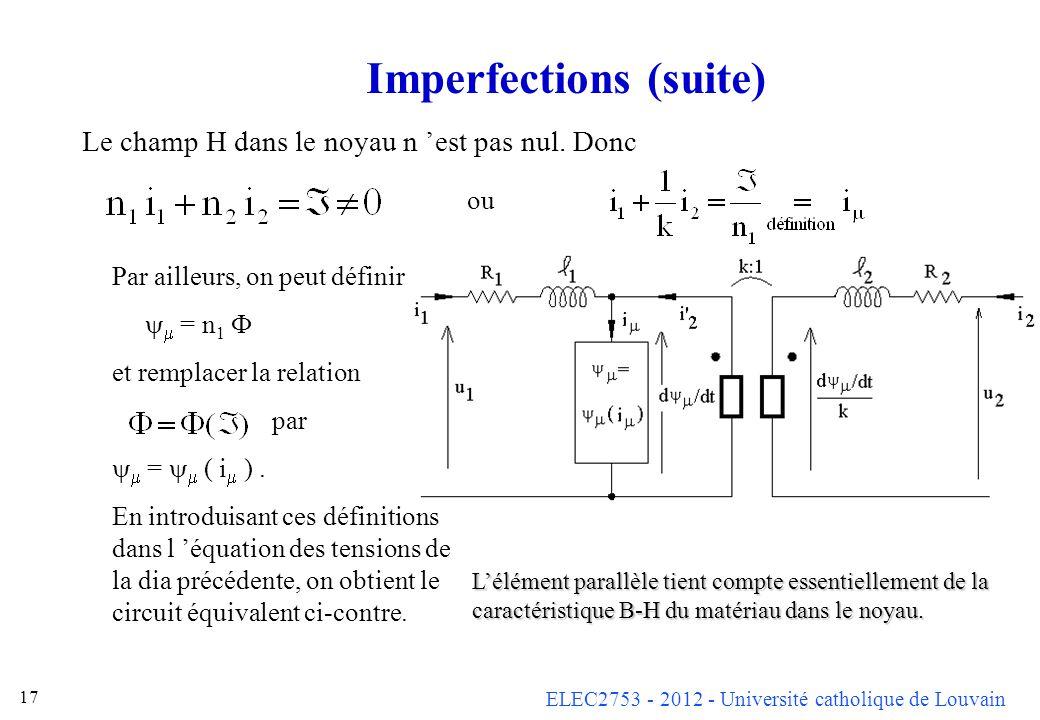 ELEC2753 - 2012 - Université catholique de Louvain 17 Imperfections (suite) Le champ H dans le noyau n est pas nul. Donc ou Par ailleurs, on peut défi