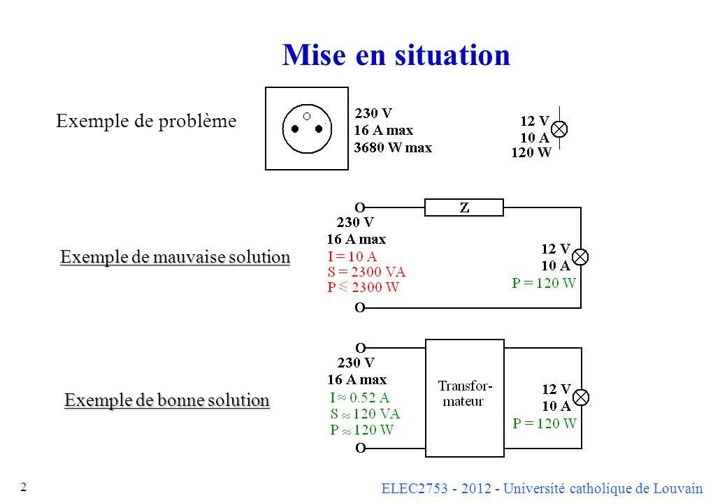 ELEC2753 - 2012 - Université catholique de Louvain 63 Note sur mise en parallèle On peut rattraper de petits déséquilibres à l aide d un transformateur d équilibrage qui impose aux courants de garder le bon rapport.
