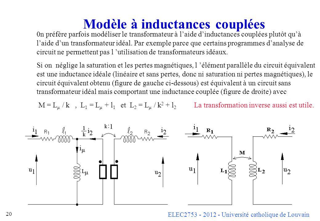 ELEC2753 - 2012 - Université catholique de Louvain 20 Modèle à inductances couplées 0n préfère parfois modéliser le transformateur à laide dinductance
