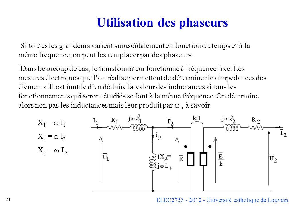 ELEC2753 - 2012 - Université catholique de Louvain 21 Utilisation des phaseurs X 1 = l 1 X 2 = l 2 X = L Si toutes les grandeurs varient sinusoïdaleme