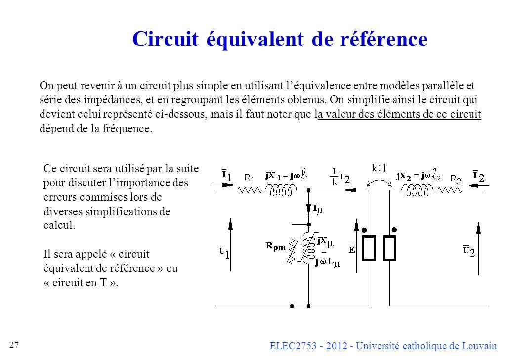 ELEC2753 - 2012 - Université catholique de Louvain 27 Circuit équivalent de référence On peut revenir à un circuit plus simple en utilisant léquivalen