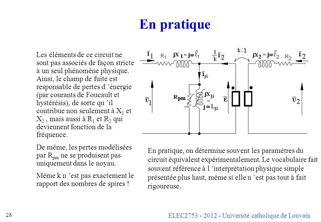 ELEC2753 - 2012 - Université catholique de Louvain 28 En pratique Les éléments de ce circuit ne sont pas associés de façon stricte à un seul phénomène