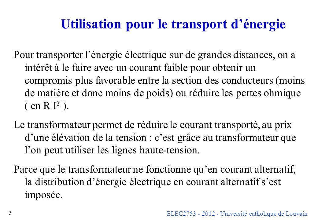 ELEC2753 - 2012 - Université catholique de Louvain 14 Transformateur idéal Avec beaucoup d hypothèses simplificatrices, on a obtenu à la dia précédente deux équations qui sont celles d un transformateur idéal de rapport k = n 1 / n 2 à savoiru 1 = k u 2 eti 1 = - (1/k) i 2 Le transformateur idéal est un élément fondamental de la théorie des circuits.