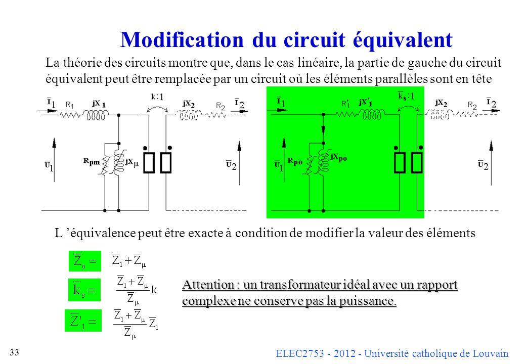 ELEC2753 - 2012 - Université catholique de Louvain 33 Modification du circuit équivalent La théorie des circuits montre que, dans le cas linéaire, la