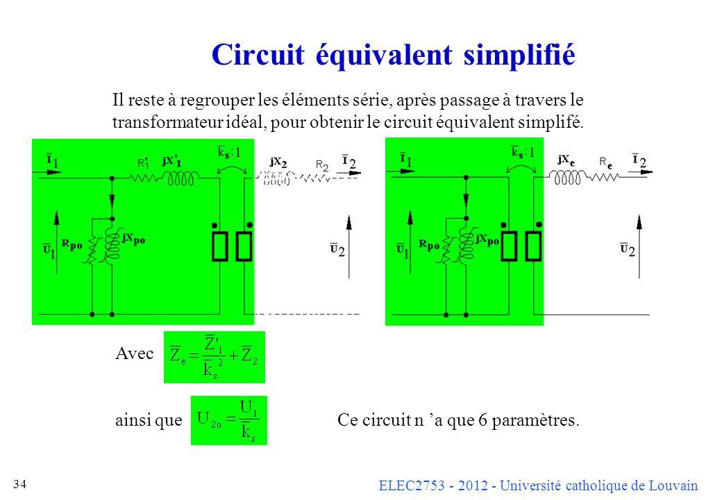 ELEC2753 - 2012 - Université catholique de Louvain 34 Circuit équivalent simplifié Il reste à regrouper les éléments série, après passage à travers le