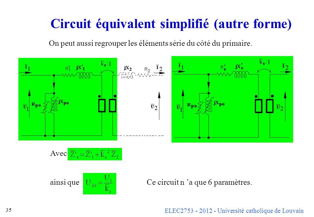 ELEC2753 - 2012 - Université catholique de Louvain 35 Circuit équivalent simplifié (autre forme) On peut aussi regrouper les éléments série du côté du